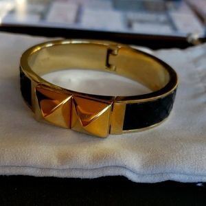 MK LEATHER AND GOLD TONE BRACELET
